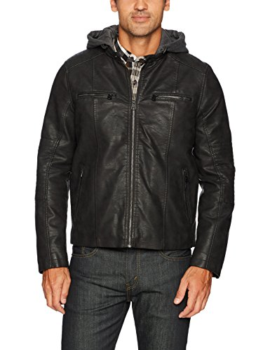 Levi's Men's Buffed Cow Faux Leather Hooded Racer, Black, Small by Levi's