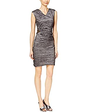 Calvin Klein Taupe Women's Sheath Broach Dress Beige 14