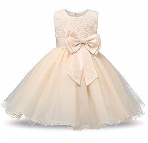 Vestido de niña de las flores de la princesa Vestidos de fiesta de cumpleaños de la boda de verano para niñas Disfraz de adolescente de los trajes de los niños (2 - 10 años de edad) ( Color : Beige , tamaño : 110/3Years old )