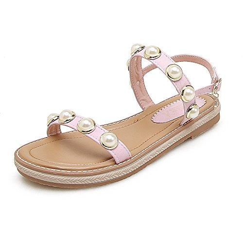 GAOLIM Señor Decorado Con Perlas De Rocío Mezclarse Después De Sandalias Planas Mujer Casual Zapatos De Mujer Estudiante Rosa