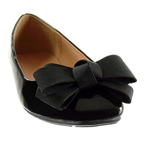 Tacco cm Scarpe 1 Moda Nero Angkorly Tacco Piatto Donna Ballerina Slip on da Verniciato Nodo v4nSqwOa