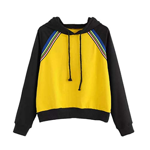Pumsun ⭐️ Womens Color Patchwork Long Sleeve Hoodie Sweatshirt Pullover Tops Blouse (XL, Yellow)