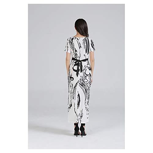 Larga Black Isbxn XXL Cuello White Largo de Mujer con Vestido de Color en para Corta Size V Manga Manga wSqUPx1