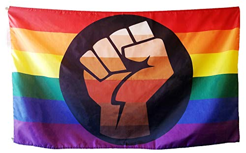QPOC Pride Flag 3x5 Foot - LGBT+ Pride Flag with Power Fist, Inspired by Black Brown Philadelphia/Philly Pride Flag, Vivid Colors, Sleeve and Metal -