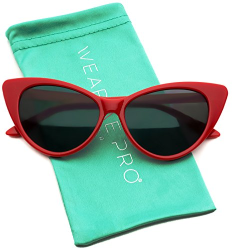 Red Cat Eye - Vintage Inspired Fashion Mod Chic High Pointed Cat Eye Sunglasses for Women (Red Frame)