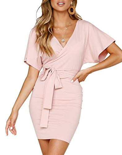 - PRETTYGARDEN Women's Casual Wrap V Neck Backless Short Sleeve Bodycon Pencil Mini Dresses with Belt