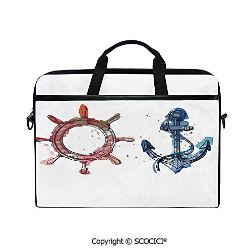 Durable Waterproof Printed Laptop Shoulderr Bag Illustration of an Anchor and Steering Wheel Watercolors Splashes Ink Brush Effects Computer Briefcases for 15 inch