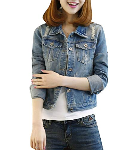 Women Jacket AS1 Short Trucker Pocket Single Long Sleeve Big Breasted Howme BfqzdB