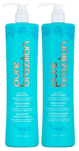 Pure Brazilian - Anti-Frizz Daily Shampoo & Conditioner Duo Set (2 x 1 Liter) (Brazilian Pure Shampoo)