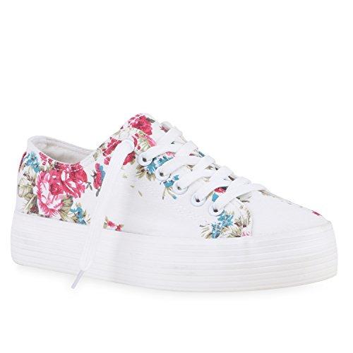 Sportliche Damen Plateau Low Sneakers Bequeme Schnürer Schuhe, Weiß, 39 EU