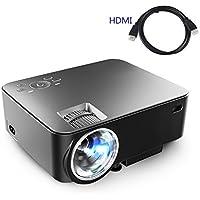 Projector,Dihome LCD LED Mini Video Projector Full Color 1500 lumens 1080P Home Cinema Theater Multimedia Portable Projector Support HD PC USB HDMI AV VGA Black