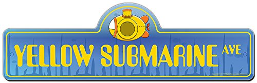 SignMission Yellow Submarine Street Sign | Indoor/Outdoor | Funny Home Decor for Garages, Living Rooms, Bedroom, Offices Personalized Gift