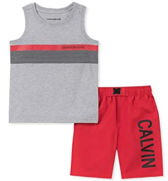 Calvin Klein Baby-Boys 2 Pieces Muscle Shorts Set Shorts Set - Multi - 12 Months Gray/Red