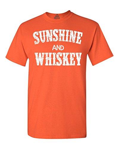 Shop4Ever® Sunshine and Whiskey T-shirt Drinking Shirts X-Large Orange 0