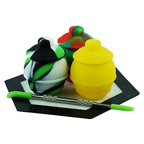 3 Silicone Honey Pots Wax Hexagon Mat Pad Non Stick Large Storage Container by X-Value ()