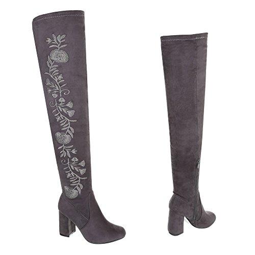 Heel Women's Boots Boots Ital Knee Over Block Grey Design v761HqR