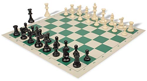 Standard Club Plastic Chess Set Black & Ivory Pieces with Green Roll-up Chess Board ()