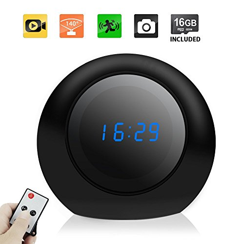 Toughsty Spy Nanny Camera Clock - Motion Detective Hidden Camera with 8GB Memory Card Built in