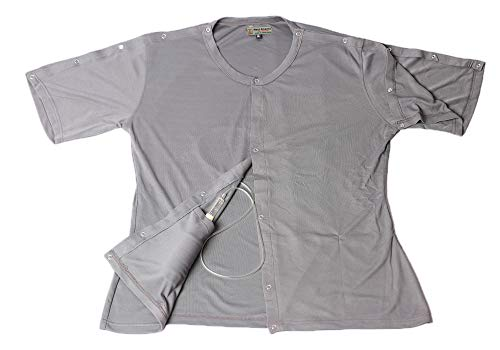 - 2 pcs Set of Post Mastectomy Easy Open Surgery Recovery Shirt Top with Pockets for Drains (Small, Light Gray)