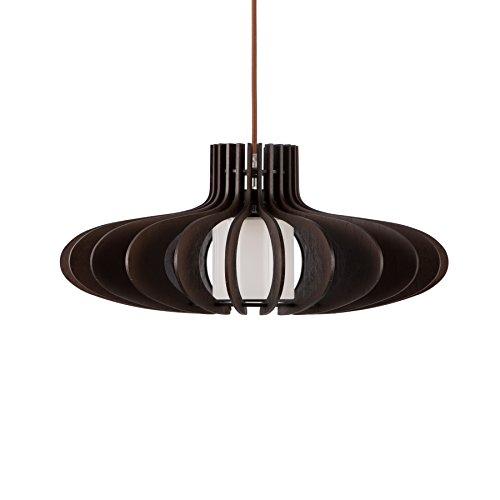MAYKKE Oban Medium Wooden Pendant Lamp | Lantern Style with Dark Brown Rings, Hanging Light with Adjustable Cord | Walnut Wood Finish, MDB1040201 by Maykke (Image #2)