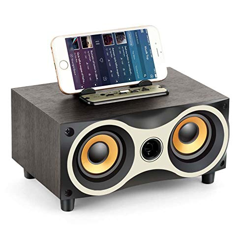 MG.QING Portable Wooden Wireless Speaker Subwoofer Stero Bluetooth Speakers FM Radio Desktop Caixa de Som for iPhone Android,Black (Apple Bluetooth De Caixa Som)