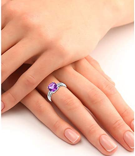 Miore Women's Engagement Ring 9 Carat (375) White Gold Amethyst with Diamonds 0.06 Carat