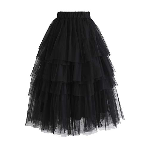 98a7c33a0 Chicwish Women's Nude Pink/Black Tiered Layered Mesh Ballet Prom Party  Tulle Tutu A-line Midi Skirt