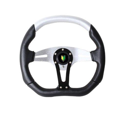(Universal 350mm Black Silver Steering Wheel)
