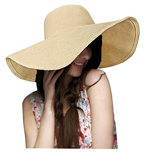 ASSQI Women Foldable Floppy Wide Large Brim Sun Hats Derby Cap Beach Straw Hat Beige