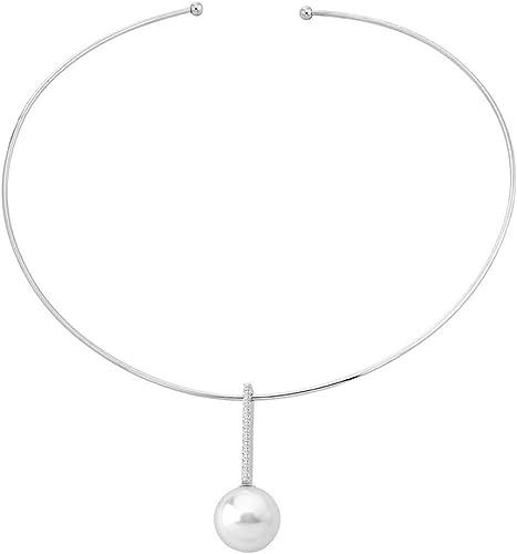 Majorica Hechizo - Collar rígido en titanio con una perla blanca y circonitas.