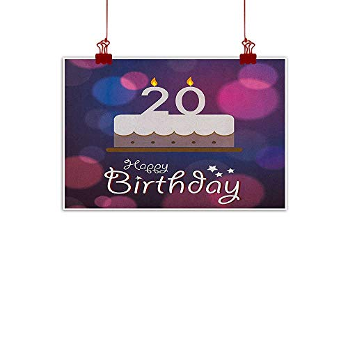 Sunset glow Wall Art Painting Print 20th Birthday,Twenty Years Old Birthday Cake Cartoon Design on Navy Blue Backdrop, Lilac and Purple 32