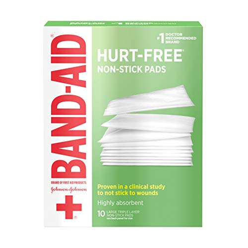 Band-Aid Brand Sterile Hurt-Free Non-Stick Pads, Individually-Wrapped, Large, 3 in x 4 in, 10 ct, 3 ()