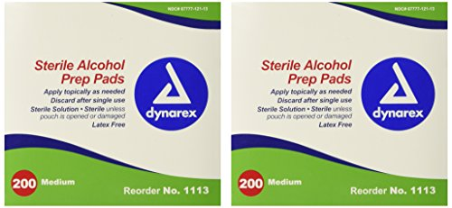 Dynarex 1113 Latex Free Sterile Alcohol Prep Pad, 10.4 Ounce (Pack of 400) ()