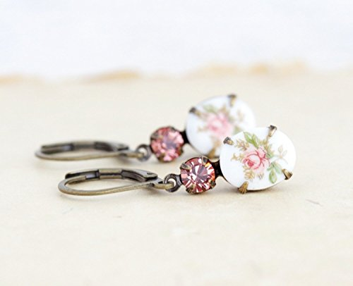 Floral Cameo Earrings (Peach Pink Floral Cameo Crystal Jewel Drop Earrings)