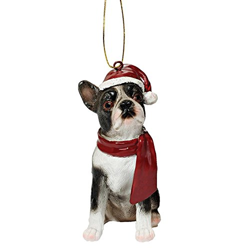 Design Toscano Boston Terrier Holiday Dog Christmas Tree Ornament Xmas Decorations, 3 Inch, Full Color -