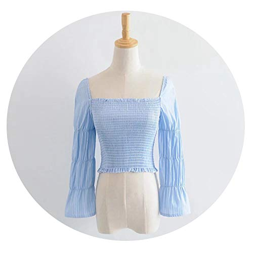 Vintage Square Neck Smocked Blouse Shirt Women Puffed 3/4 Sleeve White Crop Top Summer,Blue,L ()