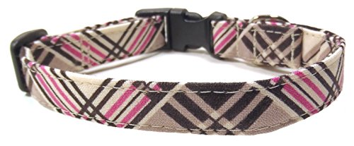 (Coco Plaid Pink and Brown, Designer Cotton Dog Collar, Adjustable Handmade Fabric Collars (XS) by Ruff Roxy)