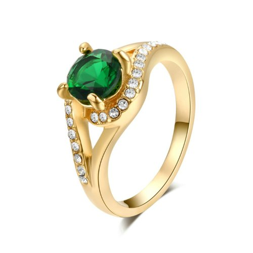 Yoursfs 18K Rose Gold Plated Vintage Green Rhinestone Cocktail Ring Wedding Jewelry (7) (Vintage Birthstone Rings compare prices)