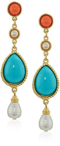 Ben-Amun Jewelry Santorini Turquoise Coral Stone Gold Post Drop Earrings