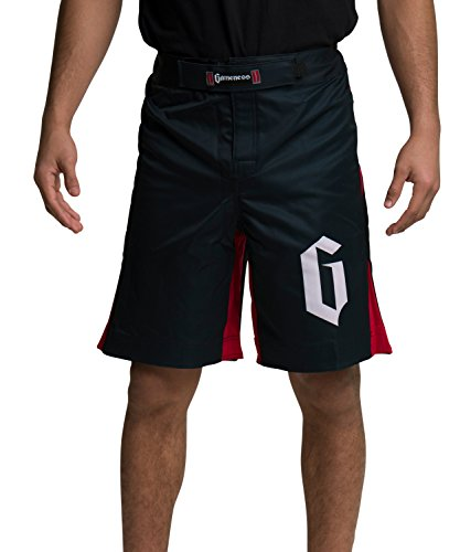 Gameness Strike Shorts for NoGi Jiu Jitsu, MMA, and Grappling + 30 Day Comfort Guarantee + Submission & Position videos by GearKingz (32, Black/Red)