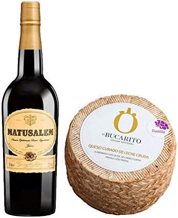 Pack de Vino Oloroso Dulce Matusalem y Queso Curado de Leche Cruda en Tintilla - Vino de 75 cl y Queso de 900 g aprox - Mezclanza