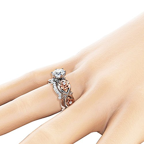 Fashion Lady's Ring, Women Silver & Rose Gold Filed White Wedding Engagement Floral Ring Set Jewelry Gift for Women Girls(Silver-1,6)