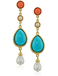 Santorini Turquoise Coral Stone Gold Post Drop Earrings