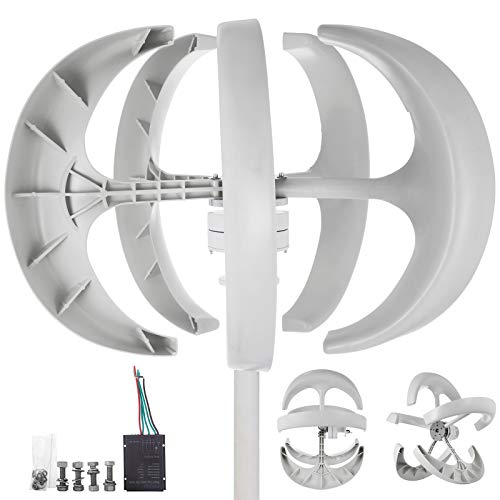 Happybuy Wind Turbine 400W 24V Wind Turbine Generator White Lantern Vertical Wind Generator 5 Leaves Wind Turbine Kit with Controller No Pole (400W 24V, White) (Use For Wind Home Generators)