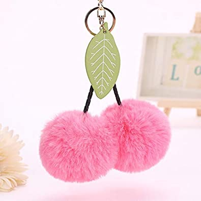 Amazon.com  Stone Wordd fur keyring 1pcs Rabbit Fur 8cm Leaves Ball ... 0d98f3b2b1