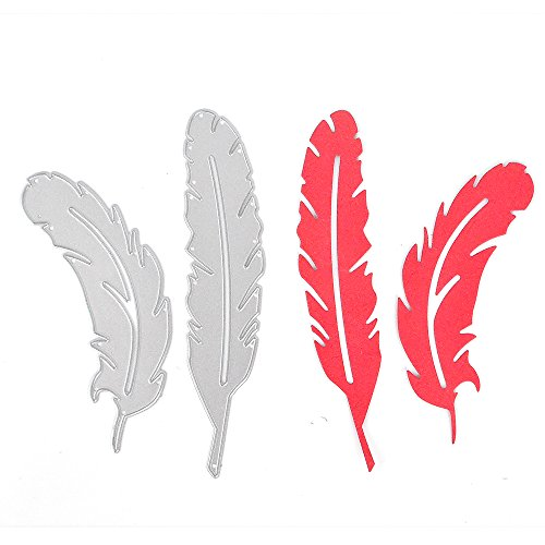 2 Pcs Metal Feather Stencils DIY Scrapbooking Paper Card - 8