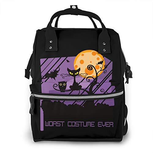 Omigge Multi-Function Travel Bags, Baby Diaper Bag Backpack for Mom, School Bags Large Capacity,Waterproof and Stylish Personalized Design - Worst Costume Ever Halloween Scared Black Cat