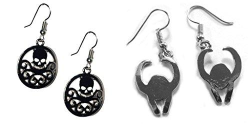 Loki Costume Helmet (Black Hydra Logo and Loki Helmet Dangle Earrings w/Gift Box)