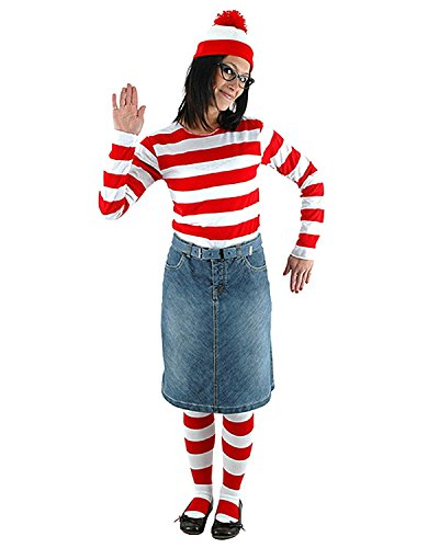 Where's Waldo Now Costume Funny Sweatshirt Hoodie Outfit Glasses Hat Cap Suits,Parent-Child (Waldo Girl Halloween Costume)