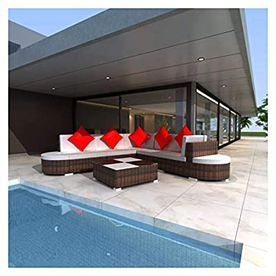 K&A Company Outdoor Furniture Sets, 8 Piece Garden Lounge Set with Cushions Poly Rattan Brown